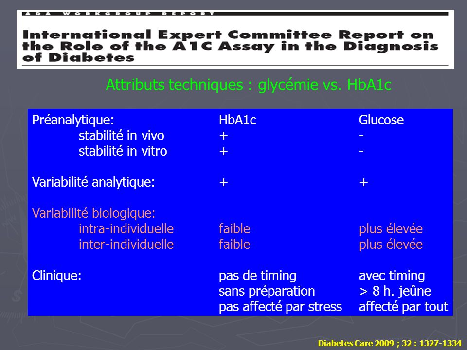 Attributs techniques : glycémie vs. HbA1c