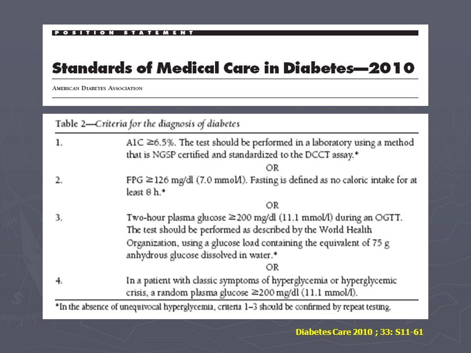Diabetes Care 2010 ; 33: S11-61