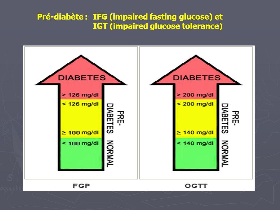 Pré-diabète : IFG (impaired fasting glucose) et