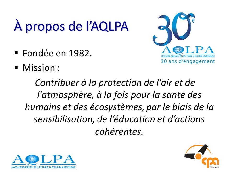 À propos de l'AQLPA Fondée en 1982. Mission :