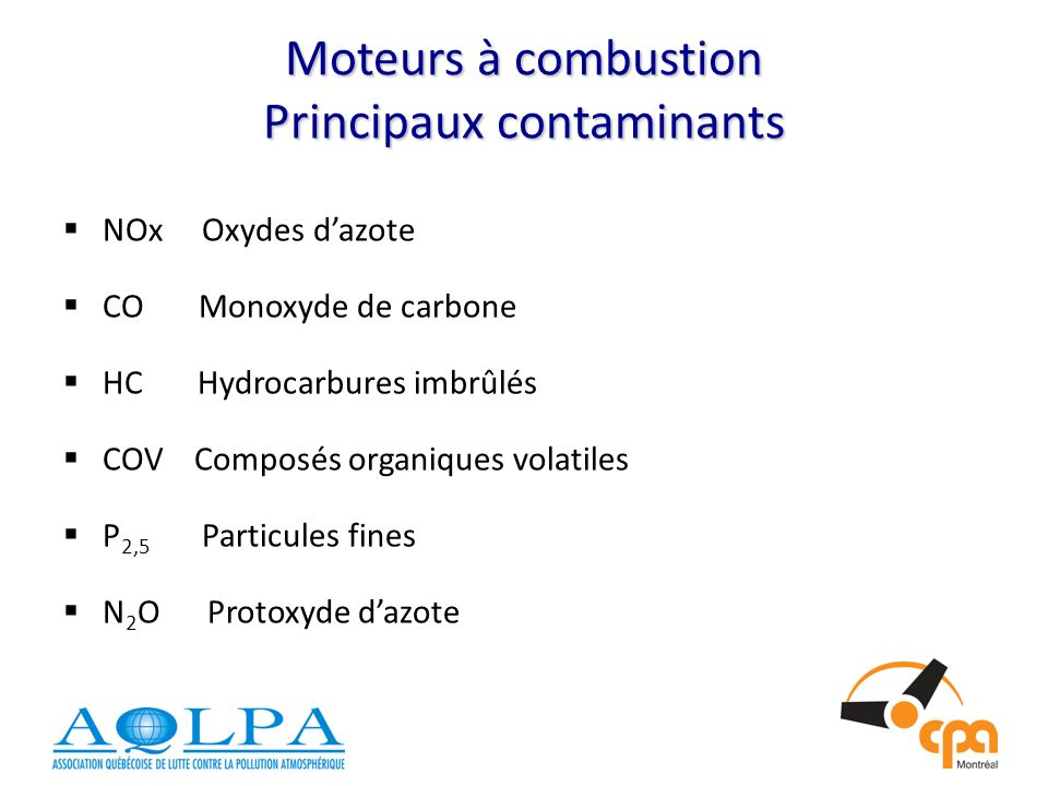 Moteurs à combustion Principaux contaminants