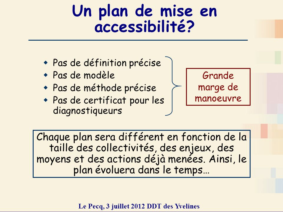Un plan de mise en accessibilité