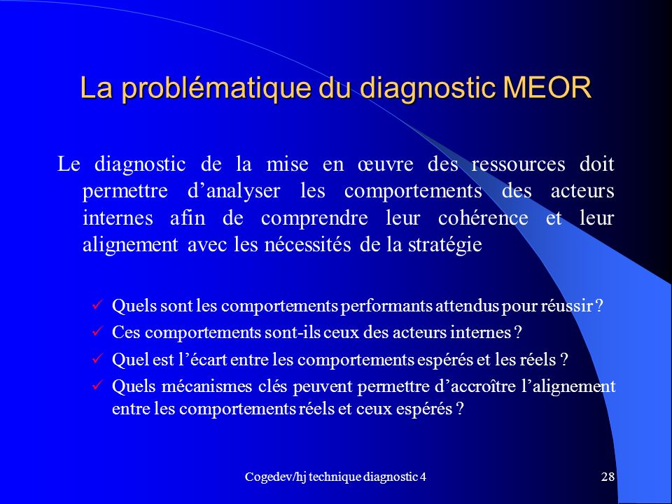 La problématique du diagnostic MEOR