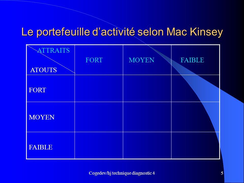 Le portefeuille d'activité selon Mac Kinsey