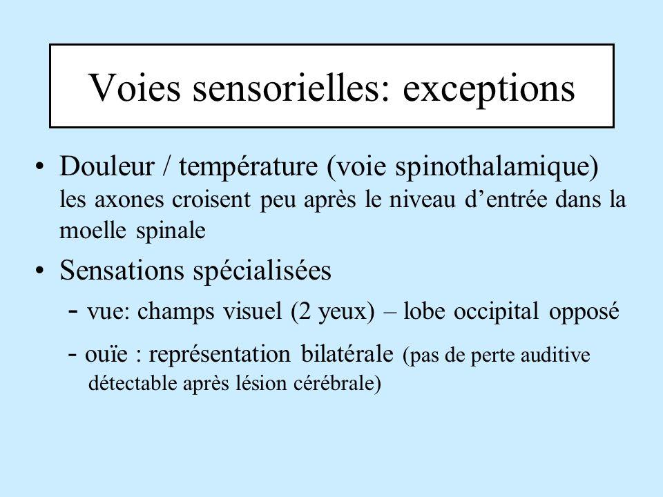 Voies sensorielles: exceptions