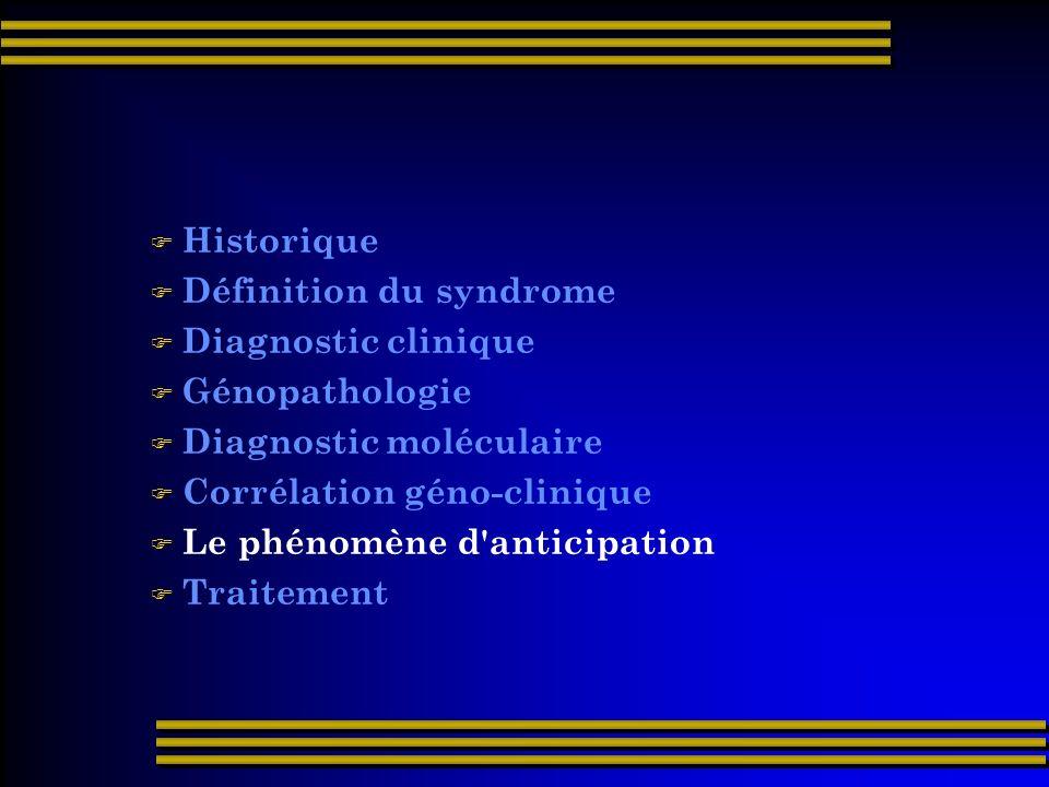 Historique Définition du syndrome. Diagnostic clinique. Génopathologie. Diagnostic moléculaire. Corrélation géno-clinique.