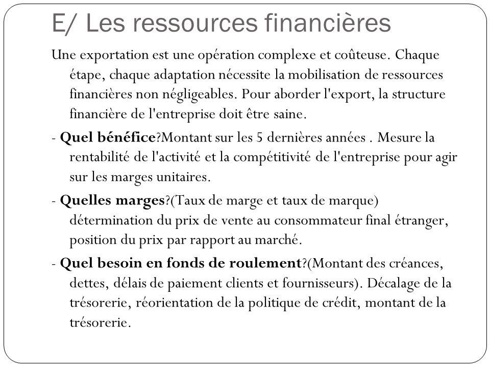 E/ Les ressources financières