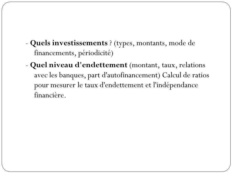 - Quels investissements
