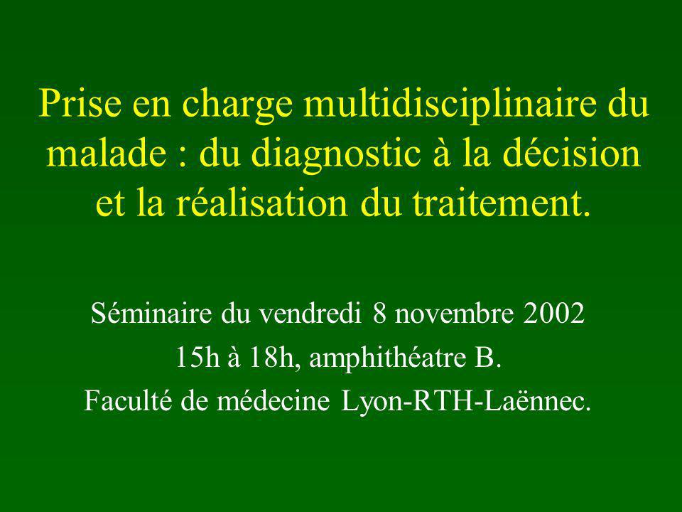 Prise en charge multidisciplinaire du malade : du diagnostic à la décision et la réalisation du traitement.