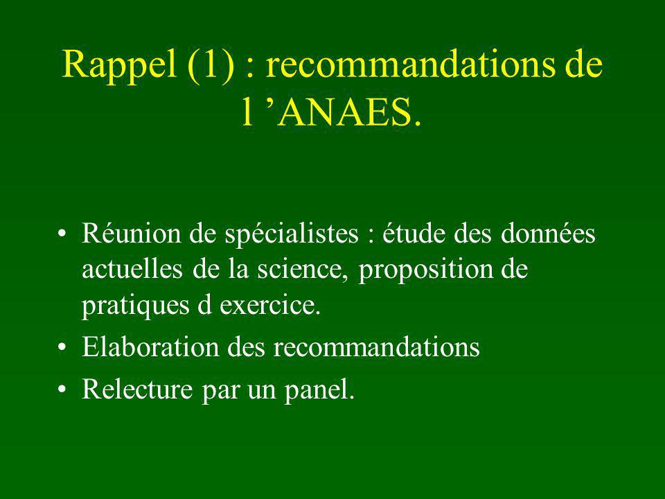 Rappel (1) : recommandations de l 'ANAES.