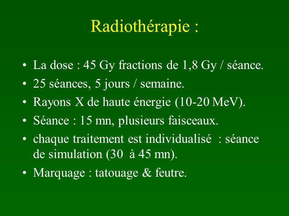 Radiothérapie : La dose : 45 Gy fractions de 1,8 Gy / séance.