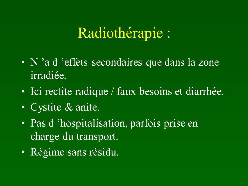 Radiothérapie : N 'a d 'effets secondaires que dans la zone irradiée.