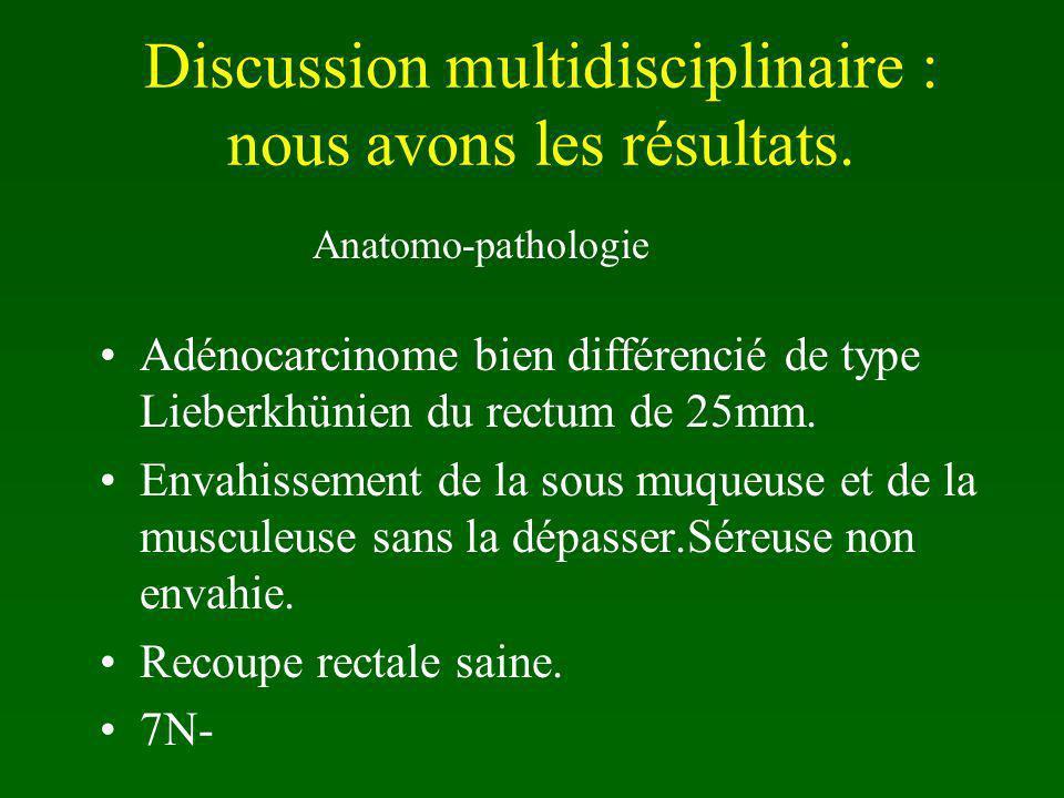 Discussion multidisciplinaire : nous avons les résultats.