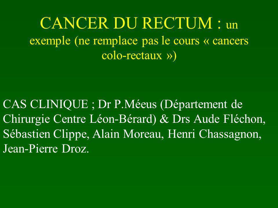 CANCER DU RECTUM : un exemple (ne remplace pas le cours « cancers colo-rectaux »)