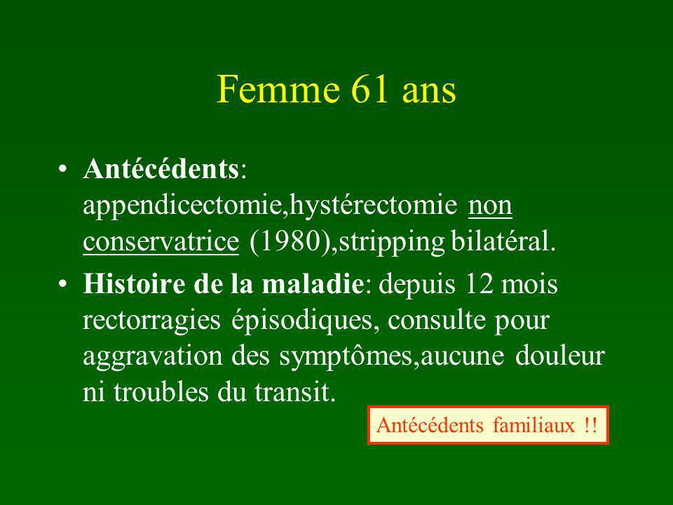 Femme 61 ans Antécédents: appendicectomie,hystérectomie non conservatrice (1980),stripping bilatéral.