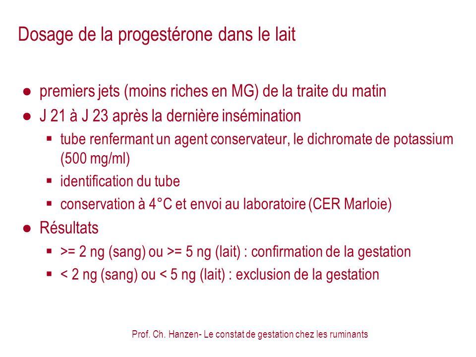 Dosage de la progestérone dans le lait