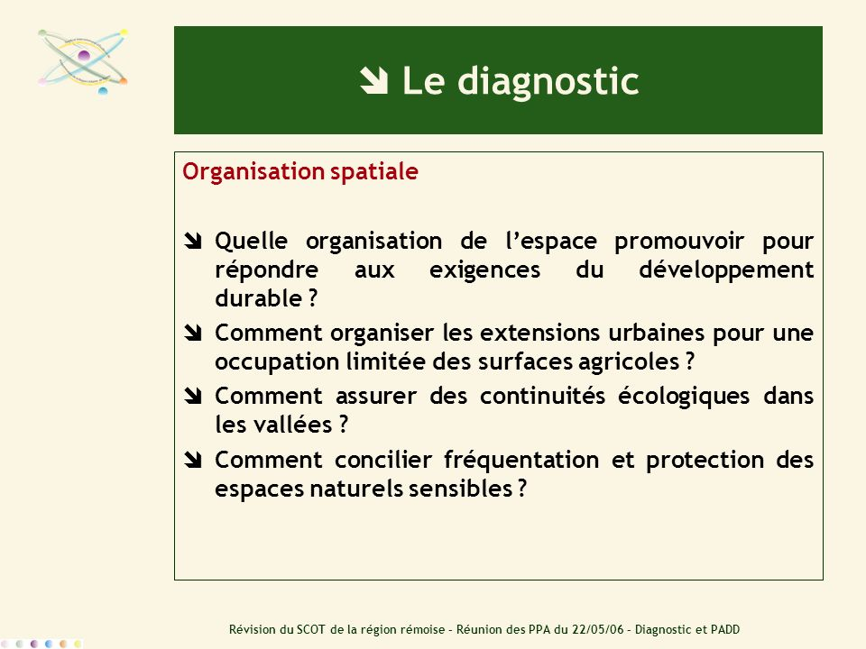  Le diagnostic Organisation spatiale
