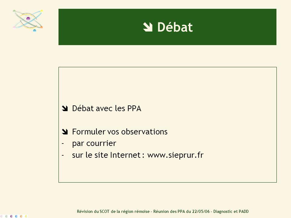  Débat Débat avec les PPA Formuler vos observations par courrier