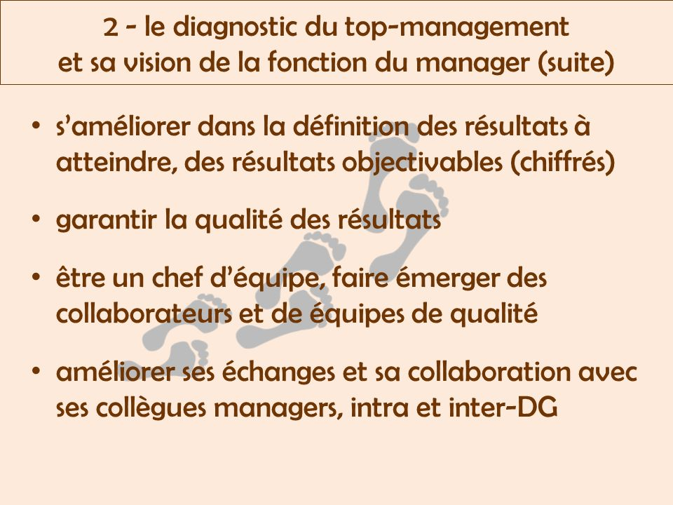 2 - le diagnostic du top-management et sa vision de la fonction du manager (suite)
