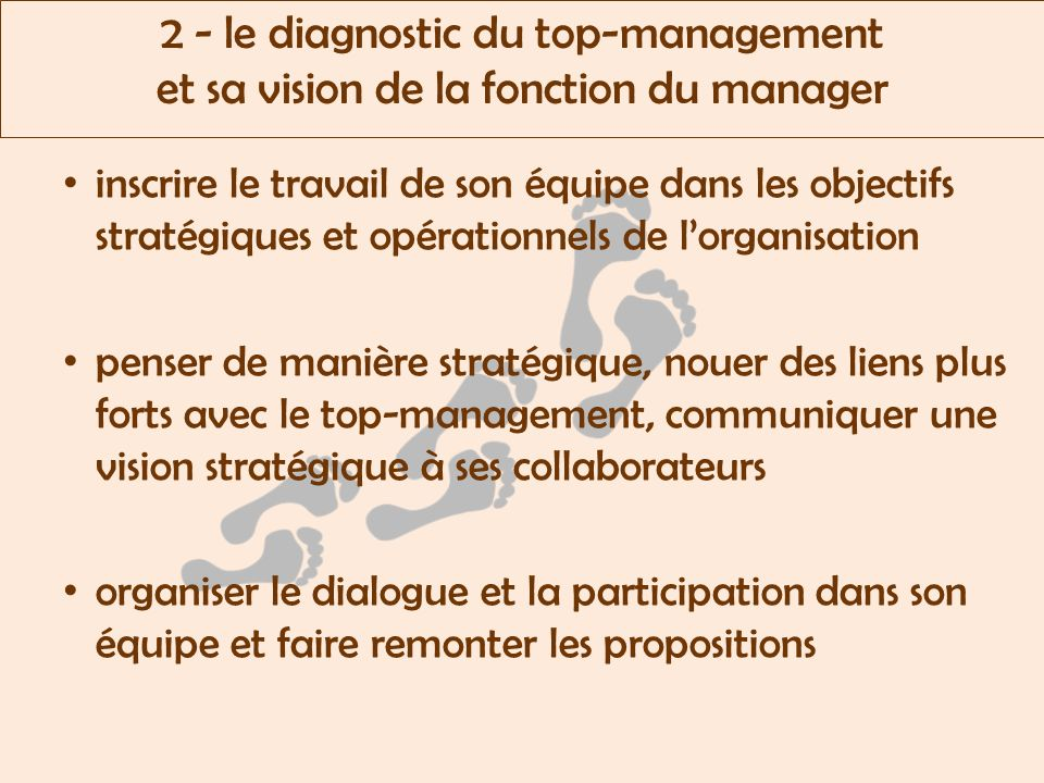 2 - le diagnostic du top-management et sa vision de la fonction du manager