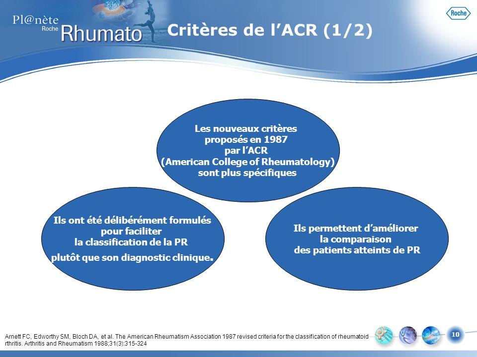 Critères de l'ACR (1/2) Les nouveaux critères proposés en 1987