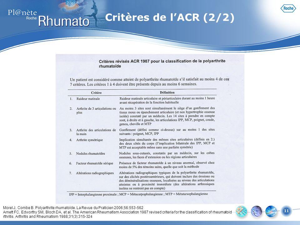 Critères de l'ACR (2/2) Voici dans ce tableau les critères de classification de la polyarthrite rhumatoïde proposés par l'ACR (1).