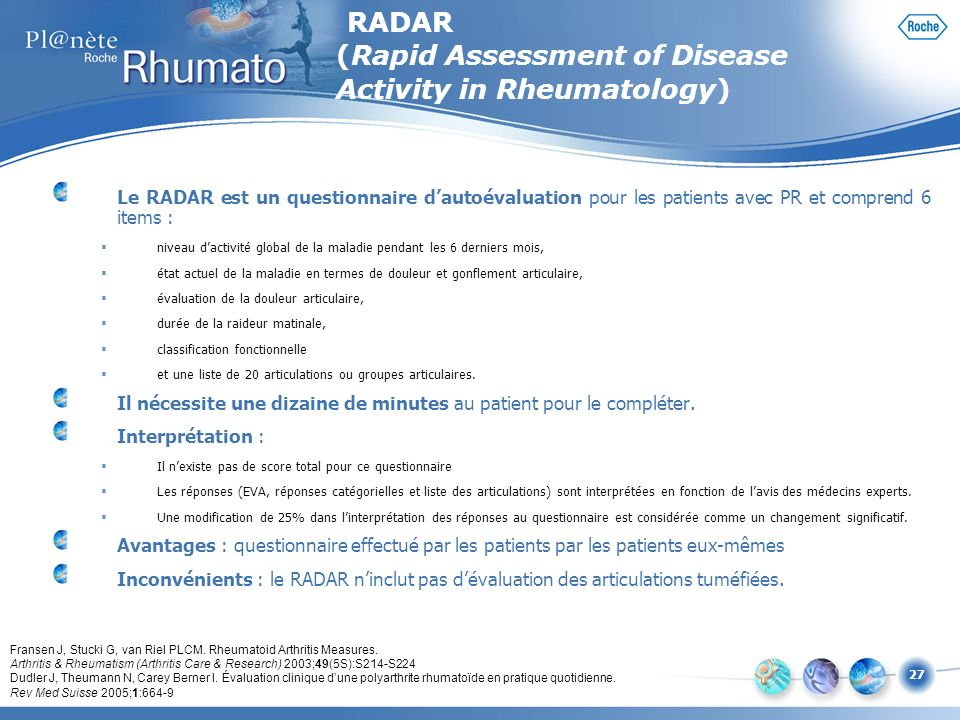 RADAR (Rapid Assessment of Disease Activity in Rheumatology)