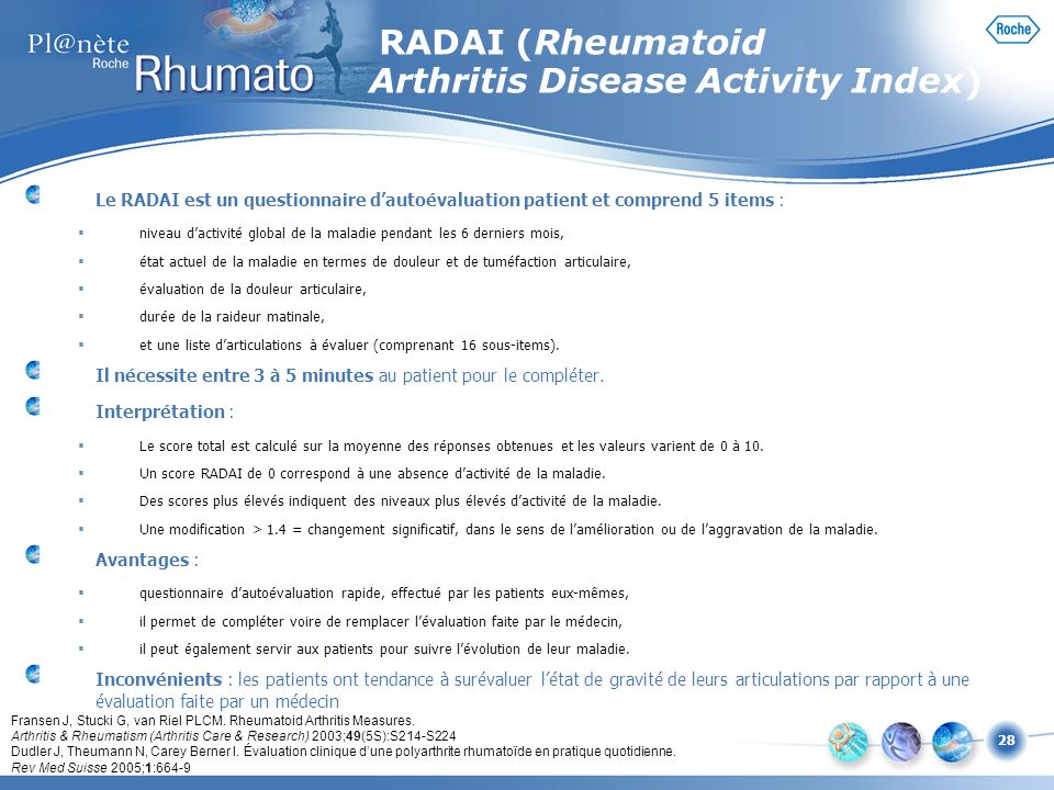 RADAI (Rheumatoid Arthritis Disease Activity Index)