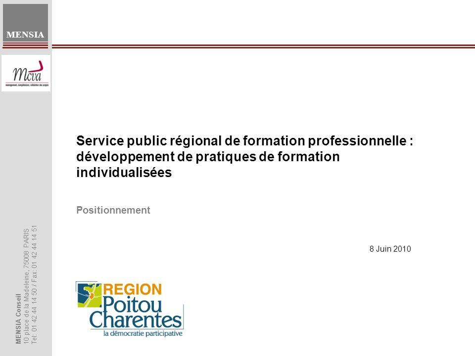 Service public régional de formation professionnelle : développement de pratiques de formation individualisées