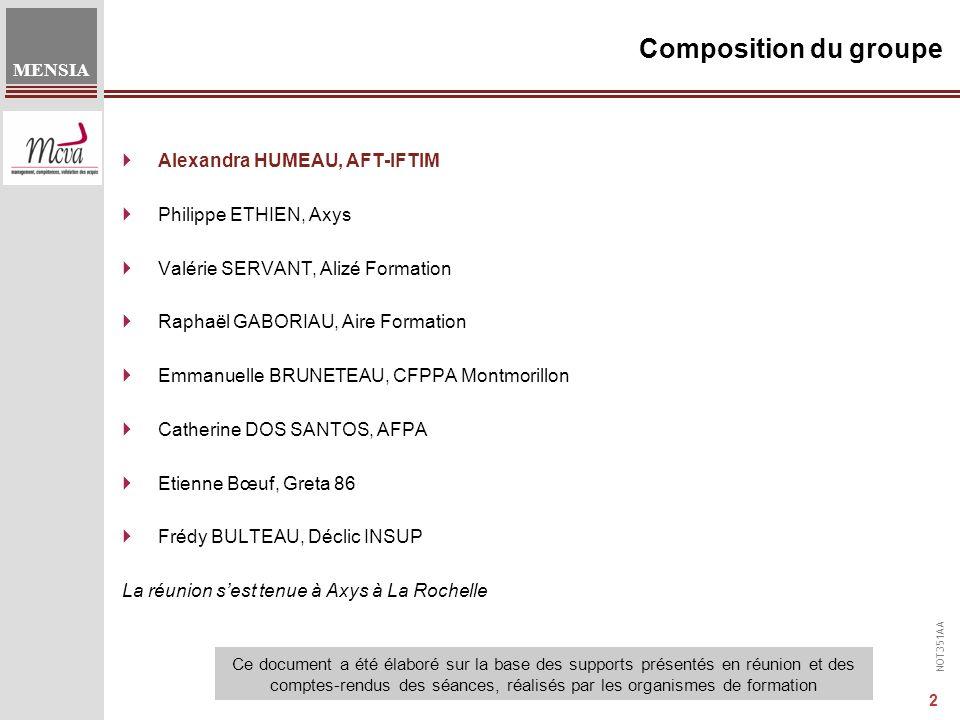 Composition du groupe Alexandra HUMEAU, AFT-IFTIM