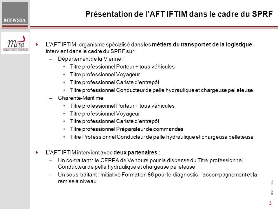 Présentation de l'AFT IFTIM dans le cadre du SPRF
