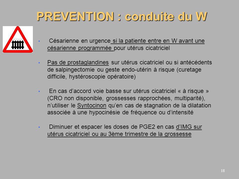 PREVENTION : conduite du W