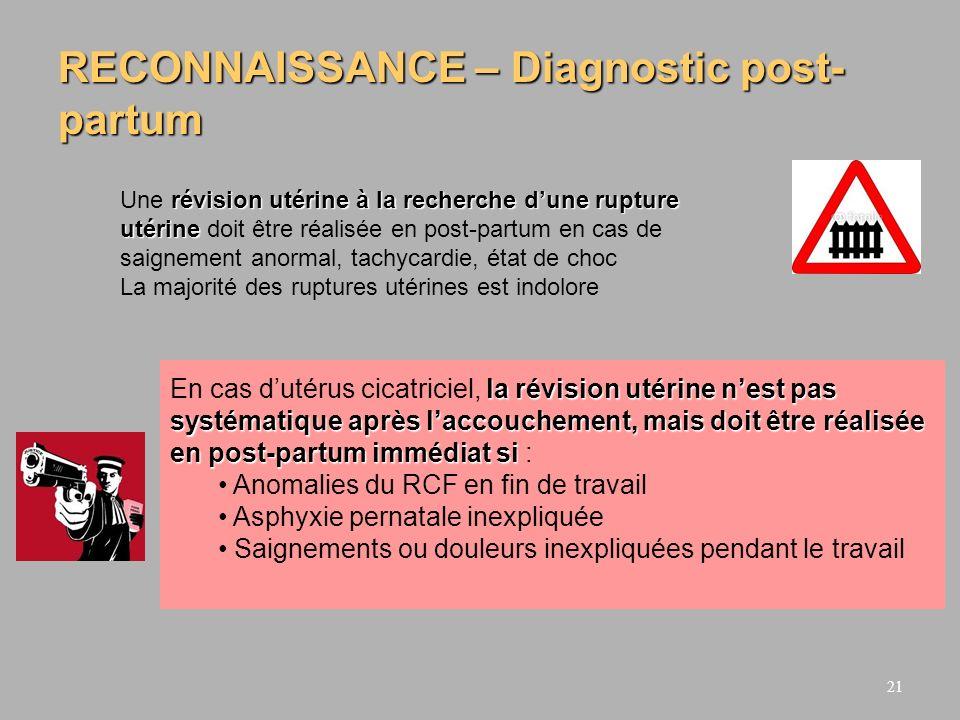RECONNAISSANCE – Diagnostic post-partum