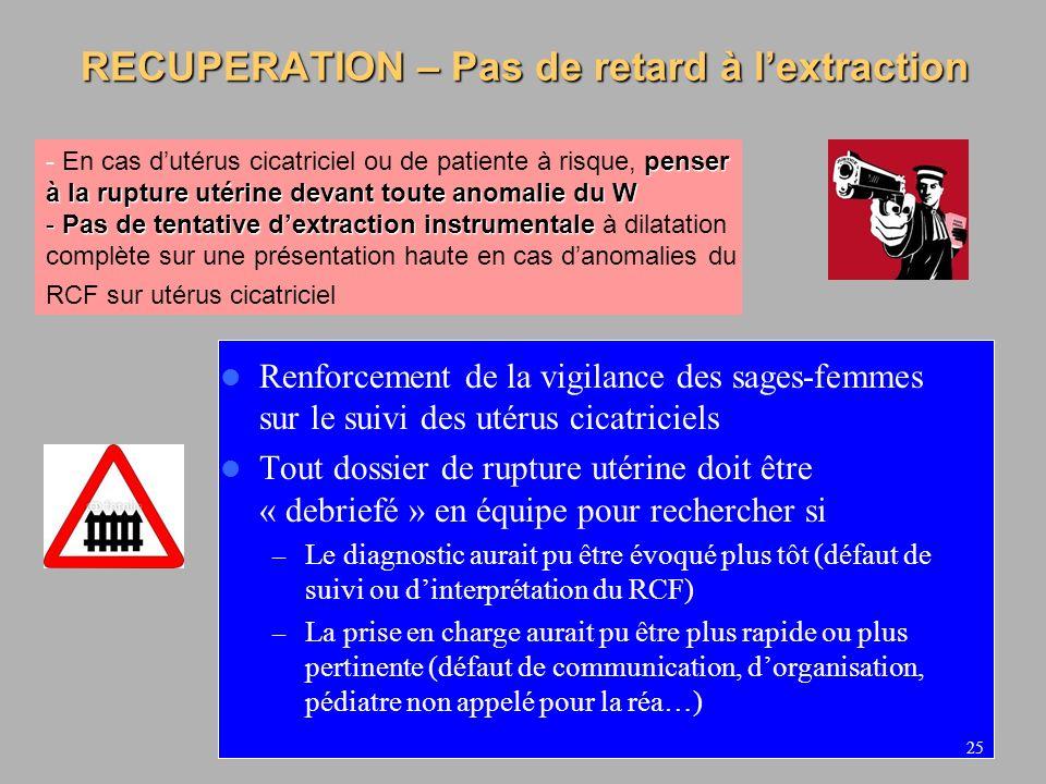 RECUPERATION – Pas de retard à l'extraction