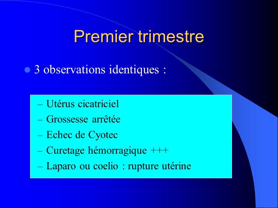 Premier trimestre 3 observations identiques : Utérus cicatriciel