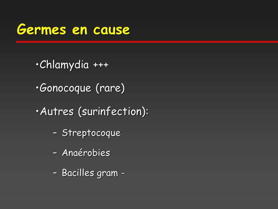 Germes en cause Chlamydia +++ Gonocoque (rare) Autres (surinfection):