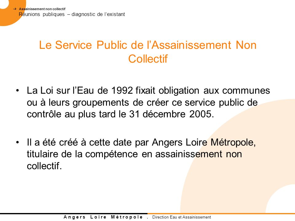 Le Service Public de l'Assainissement Non Collectif