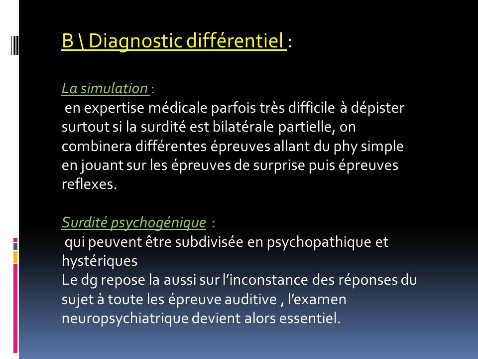 B \ Diagnostic différentiel :