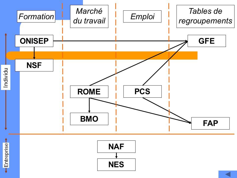 NSF ONISEP GFE ROME BMO PCS FAP NAF NES