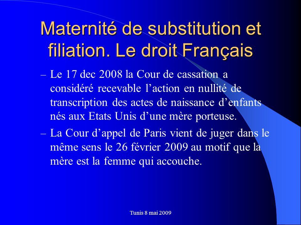 Maternité de substitution et filiation. Le droit Français