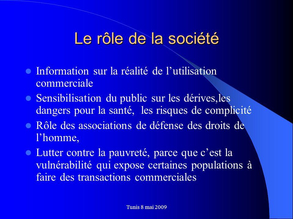 Le rôle de la société Information sur la réalité de l'utilisation commerciale.