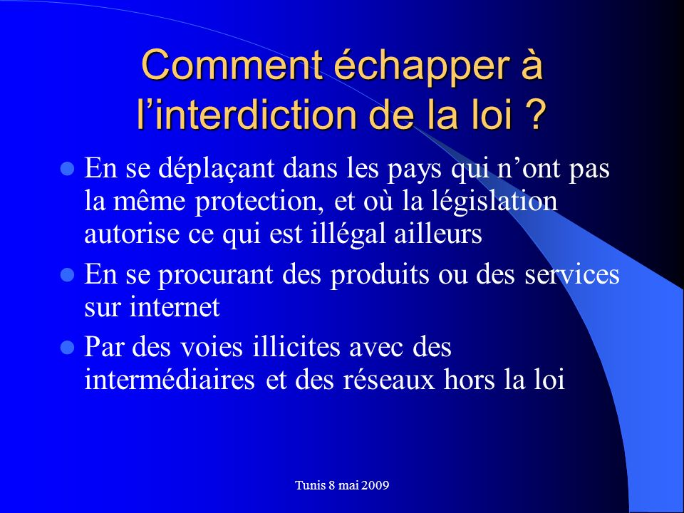 Comment échapper à l'interdiction de la loi