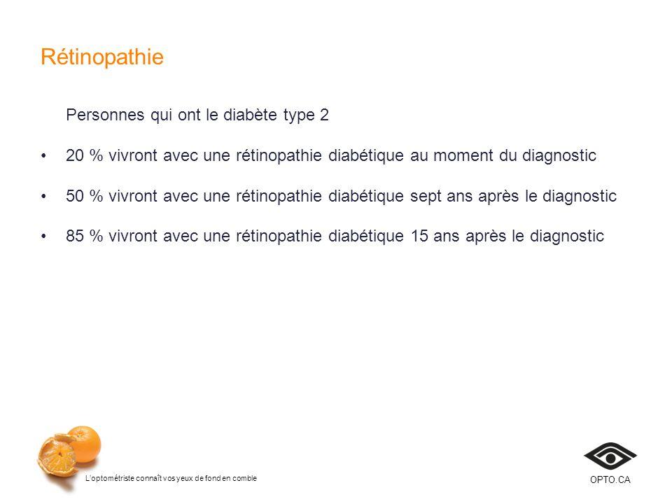 Rétinopathie Personnes qui ont le diabète type 2