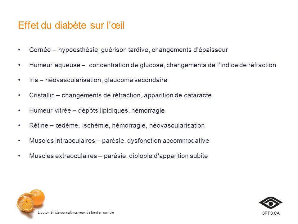 Effet du diabète sur l'œil