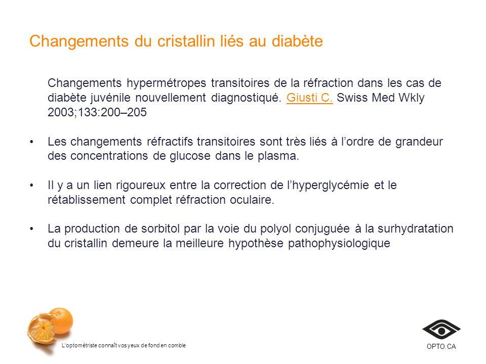 Changements du cristallin liés au diabète