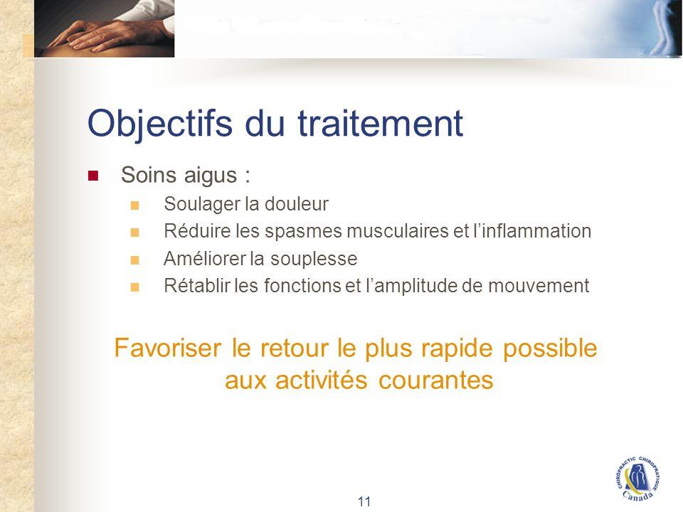 Objectifs du traitement - suite