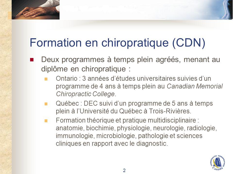 Réglementation de la chiropratique