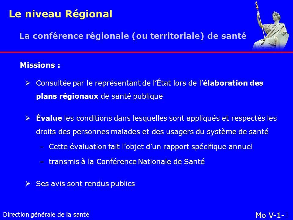 Le niveau Régional La conférence régionale (ou territoriale) de santé