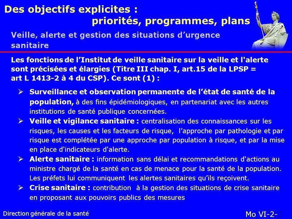 Des objectifs explicites : priorités, programmes, plans