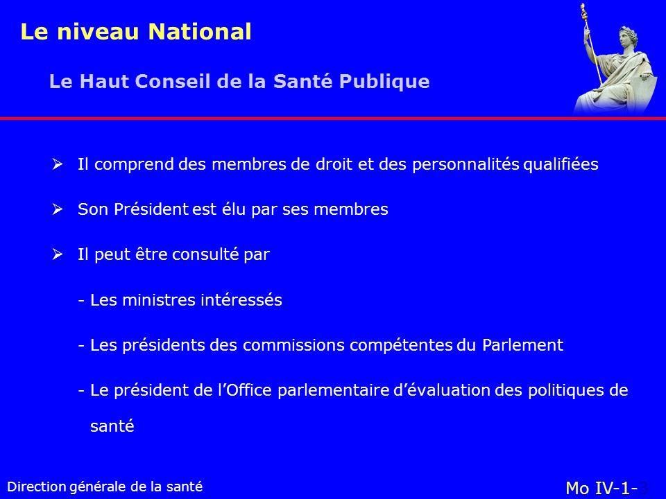 Le niveau National Le Haut Conseil de la Santé Publique Mo IV-1-3